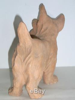 10b33 Ancienne Sculpture Chien Scottish Statue Terre Cuite Art Déco Signe Pollin