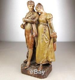 1900 F. Goldscheider Rare Statue Sculpture Art Nouveau Terre Cuite Couple Empire