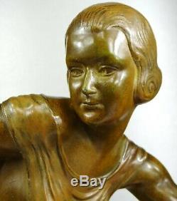 1910/20 R. Bousquet Statue Sculpture Art Deco Chryselephantine Diane Chasseresse