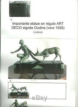 1920/1930 A. Ouline Rare Statue Sculpture Art Deco Diane Chasseresse Biche Femme