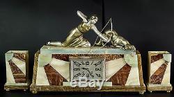 1920 /1930 Art Deco Horloge Pendule Statue Sculpture