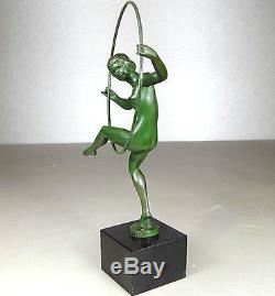 1920/1930 Briand M Bouraine Max Le Verrier Statue Sculpture Art Deco Danseuse Nu
