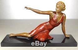 1920/1930 Balleste E Molins Rare Statue Sculpture Art Deco Femme Elegante Pin Up