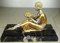 1920/1930 D. H. Chiparus Rare Statue Sculpture Ep. Art Deco Femme Elegante Fruits