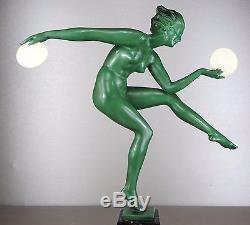 1920/1930 Derenne Bouraine Le Verrier Statue Sculpture Art Deco Chryselephantine