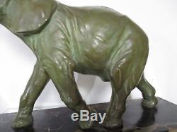 1920/1930 Deslin Rare Statue Sculpture Art Déco Bronze Animalier Éléphant