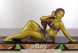 1920/1930 Dh Chiparus Rare Grande Statue Sculpture Art Deco Femme Nue L'echo N°1