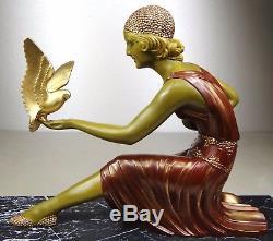 1920/1930 Dh Chiparus Rare Grd Statue Sculpture Art Deco Femme Colombes Elegante