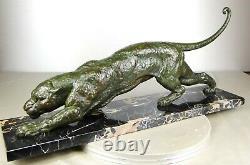 1920/1930 Dh. Chiparus Statue Sculpture Art Deco Panthere Felin Fauve Animalier