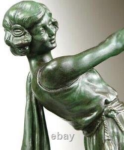 1920/1930 E. Carlier Grde Statue Sculpture Ep. Art Deco Danseuse Ballerine Femme