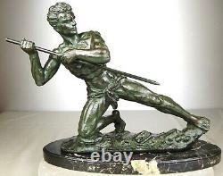 1920/1930 G Hervor Statue Sculpture Art Deco Athlete Nu Homme Javelot Pat Bronze