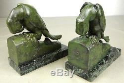 1920/1930 G Van De Voorde Paire Serre-livres Statue Sculpture Art Deco Perroquet