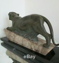 1920/1930 GRANDE STATUE SCULPTURE ART DÉCO FÉLIN TIGRE socle marbre