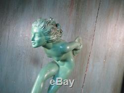 1920/1930 Garcia Max Le Verrier Statue Sculpture Art Deco Danseuse Femme Nu Joie