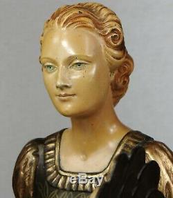 1920/1930 H Molins Suprbe Rare Statue Sculpture Art Deco Elegante Femme Eventail