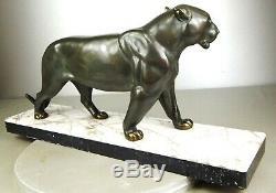 1920/1930 I Rochard Gr Statue Sculpture Animaliere Art Deco Panthere Felin Fauve