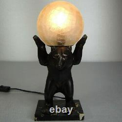 1920/1930 I Rochard Spb Lampe Veilleuse Statue Sculpture Art Deco Animalier Ours