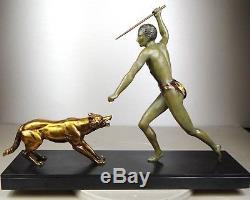 1920/1930 J. Brault Rare Sculpture Statue Bronze Art Deco Chasse Athlete Nu Loup
