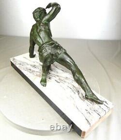 1920/1930 J. De Roncourt Statue Sculpture Art Deco Athlete Nu Homme Le Guetteur