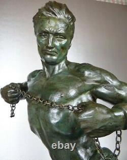 1920/1930 J De Roncourt Statue Sculpture Art Deco Homme Athlete Nu Hercule Sport