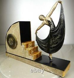1920/1930 L Gibert Rare Statue Sculpture Pendule Danseuse Art Deco Louise Brooks