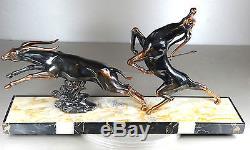 1920/1930 LIMOUSIN GRD RARE STATUE SCULPTURE ART DECO ANIMALIER GAZELLE ANTILOPE