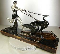 1920/1930 Limousin Rare Grd Statue Sculpture Art Deco Diane Chasseresse 2 Cygnes