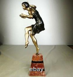 1920/1930 Limousin Statue Sculpture Art Deco Chryselephantine Danseuse Cymbales