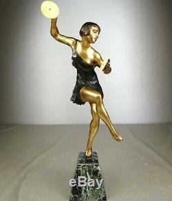 1920/1930 Limousin Statue Sculpture Chryselephantine Art Deco Danseuse Cymbales