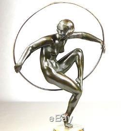 1920/1930 M. Bouraine Rare Statue Sculpture Art Deco Bronze Danseuse Nue Cerceau