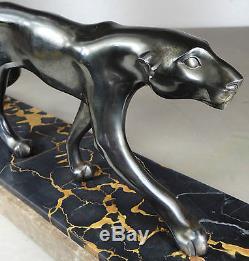 1920/1930 M. Font Rare Statue Sculpture Art Deco Animaliere Panthere Noire Felin