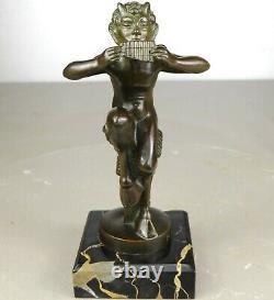 1920/1930 MIC Max Le Verrier Mascotte Automobile Statue Sculpture Art Deco Faune