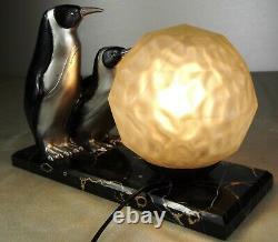 1920/1930 Marcel Bouraine Statue Sculpture Lampe Art Deco Animalier 2 Pingouins