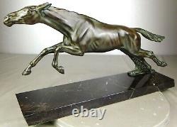 1920/1930 Max Le Verrier Spb Statue Sculpture Animalier Art Deco Cheval Equestre