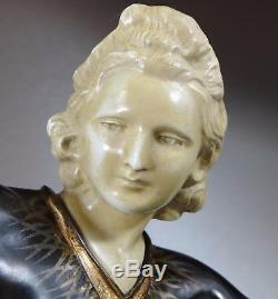 1920/1930 Menneville Rare Grnde Statue Sculpture Art Deco Chryselephantine Femme