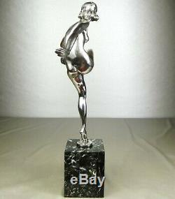1920/1930 P Le Faguays Grd Statue Sculpture Art Deco Bronze Argente Danseuse Nue