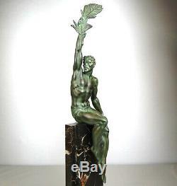 1920/1930 P. Le Faguays M Le Verrier Statue Sculpture Art Deco Athlete Nu Gloire