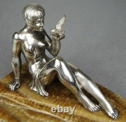 1920/1930 P. Le Faguays Rare Statue Sculpture Art Deco Bronze Argente Femme Nue