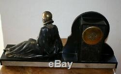 1920/1930 Pendule STATUE SCULPTURE ART DECO FEMME au Faisan (Menneville.)