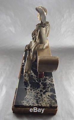 1920/1930 R Lullier Chiparus Statue Sculpture Chryselephantine Art Deco Chevreau