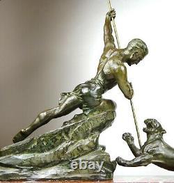 1920/1930 R Varnier Rare Grde Statue Sculpture Art Deco Chasse Panthere Homme Nu
