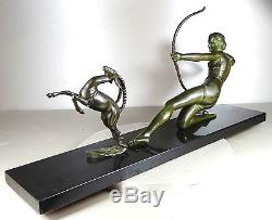 1920/1930 S MELANI RARE GRNDE STATUE SCULPTURE ART DECO BRONZE DIANE CHASSERESSE