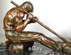 1920/1930 Santi Grnde Statue Sculpture Art Deco Bronze Homme Carrieriste Athlete