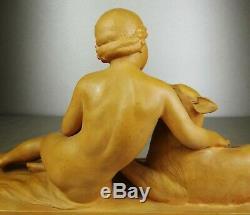 1920/1930 Ugo Cipriani Spb Statue Sculpture Ep Art Deco Terre Cuite Enfant Chien