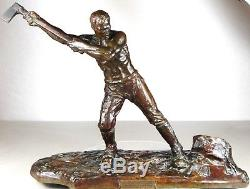 1920/1930 V Demanet Rare Grde Statue Sculpture Art Deco Bronze Homme Nu Bucheron