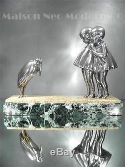 1920-30 D. H Chiparus Rare Sculpture D'époque En Régule Et Marbre Art Déco