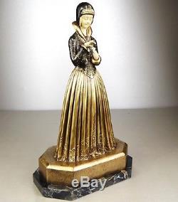1920/30 Dh. Chiparus Sculpture Chryselephantine Bronze Art Deco Femme Marguerite