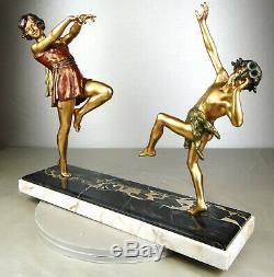 1920 E Carlier Rare Grande Suprb Statue Sculpture Art Deco Danseuse A Toge Faune