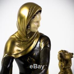 1930 statue sculpture deco femme et barzoi sign 201 e m leducq menneville