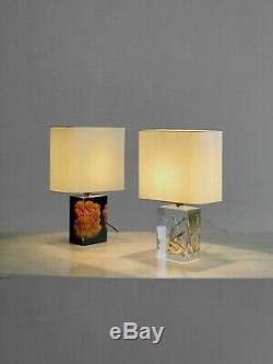 1970 Giraudon 2 Lampes Inclusion Sculpture Shabby-chic Lucite Plexiglas Pop
